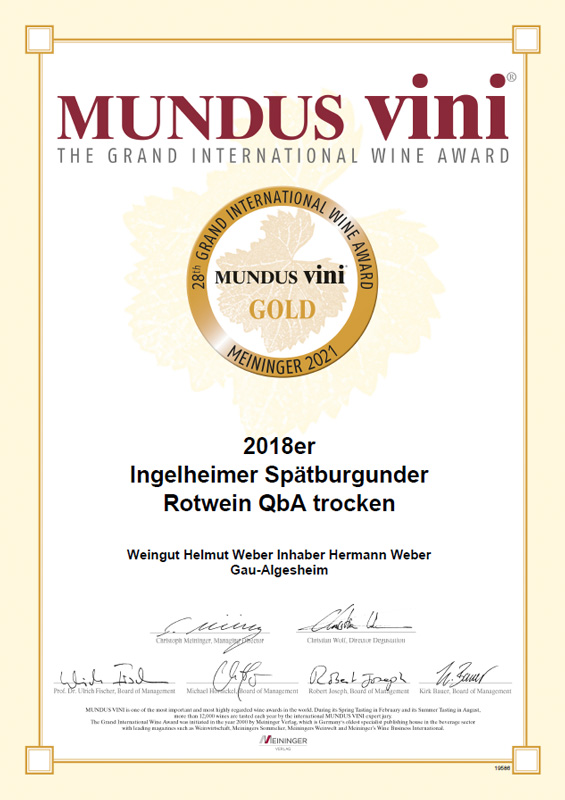 28. Größer Internationaler Weinpreis MUNDUS VINI 2021